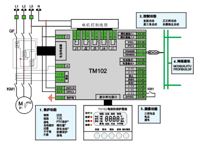 TM102电动机保护器接线图