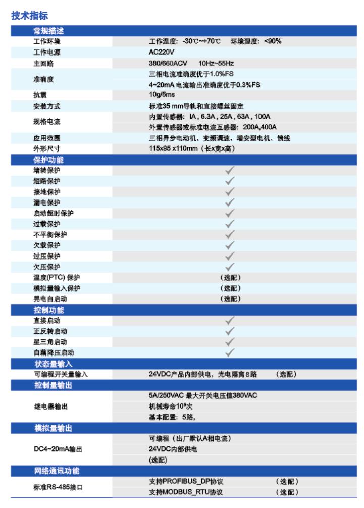 TM102电动机保护器技术指标
